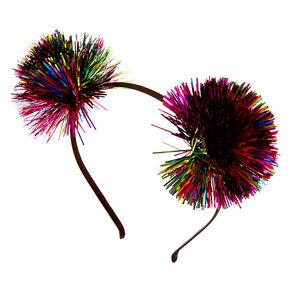 Rainbow Tinsel Pom Pom Ears Headband,