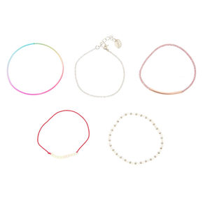 5 Pack Pink Simplicity Bracelet Set,