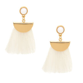 White Tassel Drop Earrings,