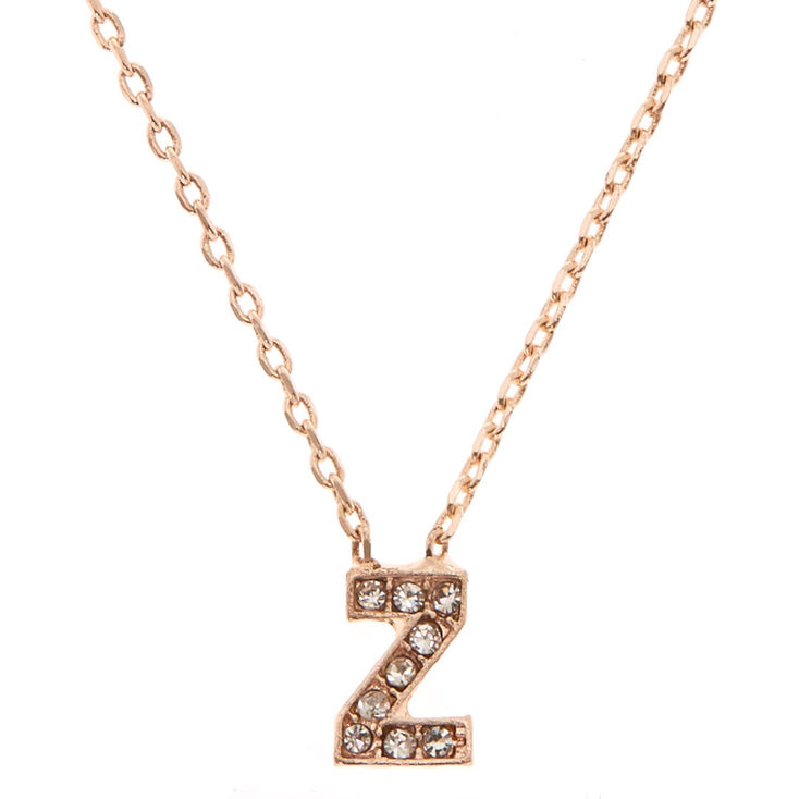 Rose Gold Embellished Initial Pendant Necklace - Z,