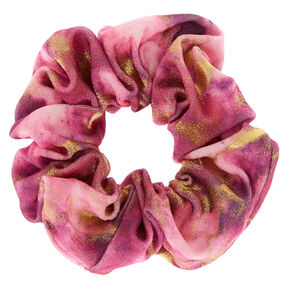 Gold Marble Velvet Hair Scrunchie - Pink,