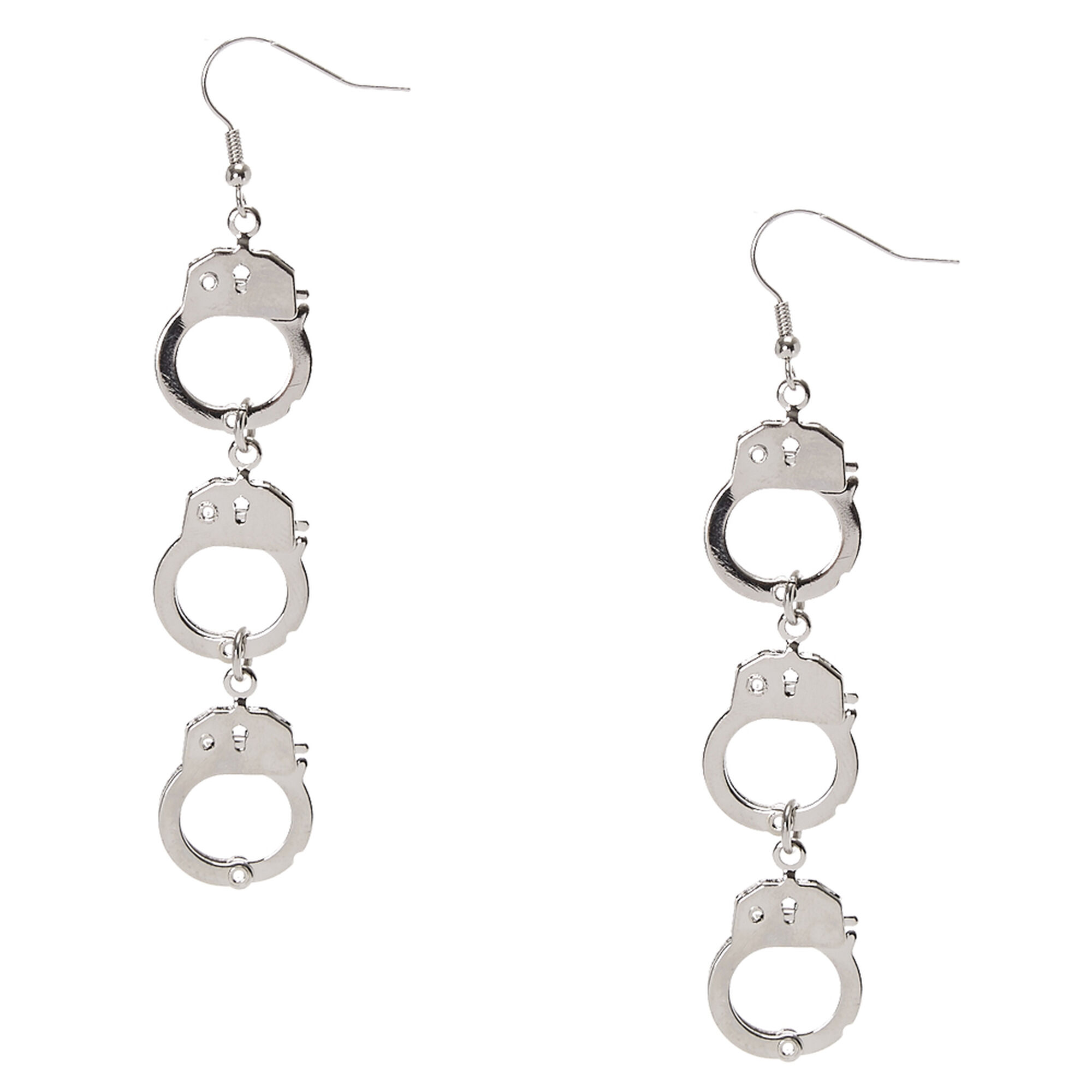 Silver Handcuff Chain Drop Earrings