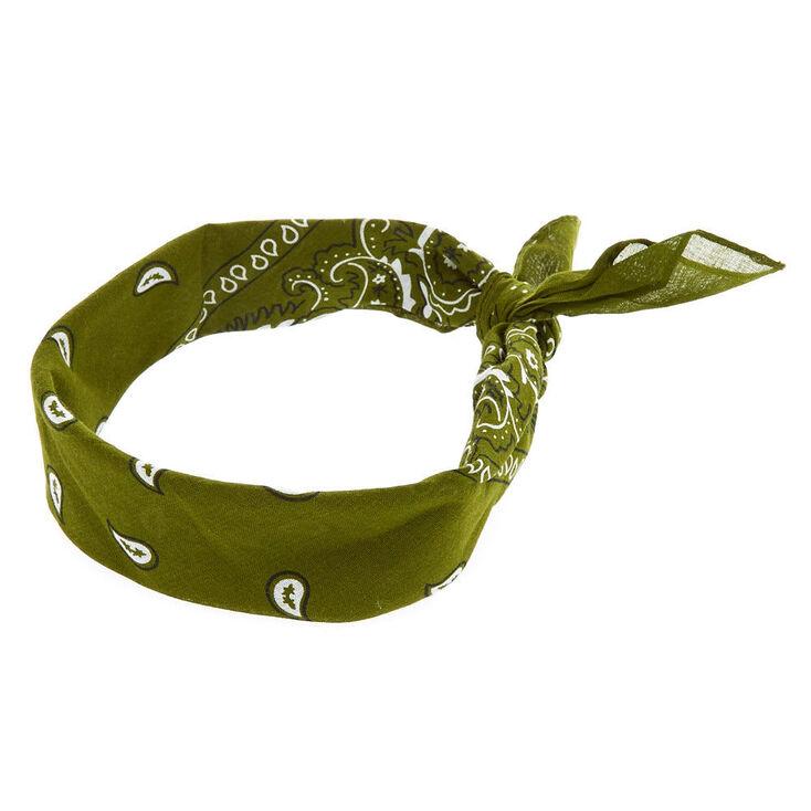 Paisley Print Bandana Headwrap - Olive Green,