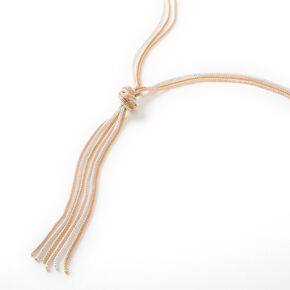 Gold & Silver Knotted Chain Long Pendant Necklace,