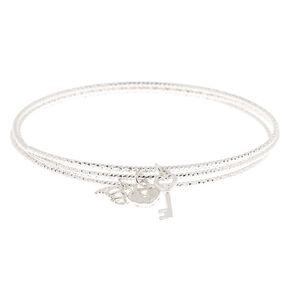 Silver Romantic Charm Bangle Bracelets - 3 Pack,