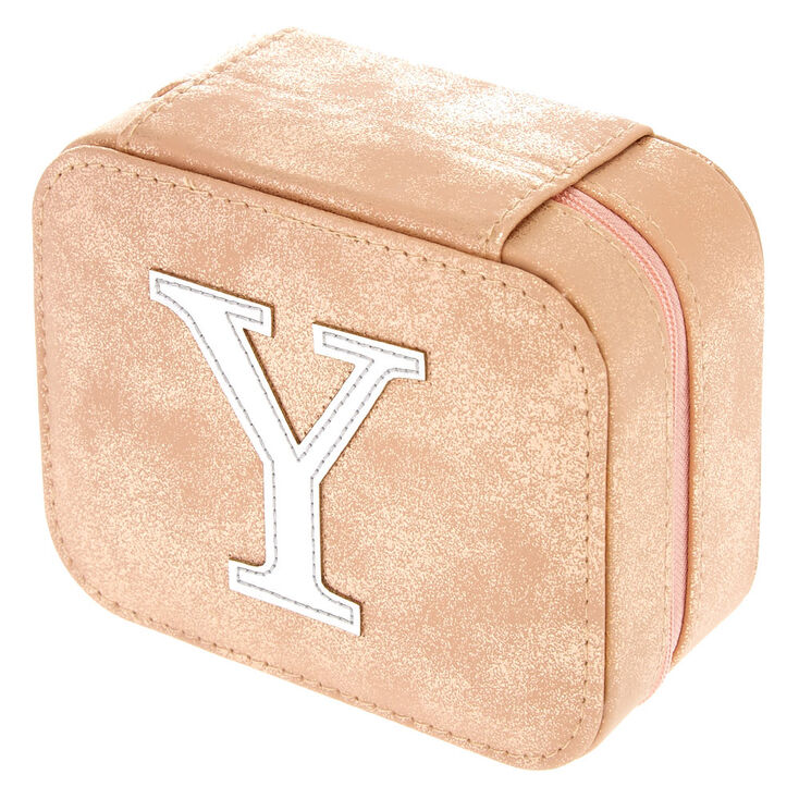 """Blush Pink """"Y"""" Initial Jewelry Case,"""