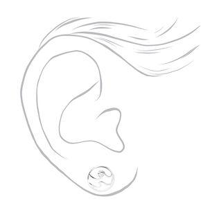 Silver Double Wave Stud Earrings,