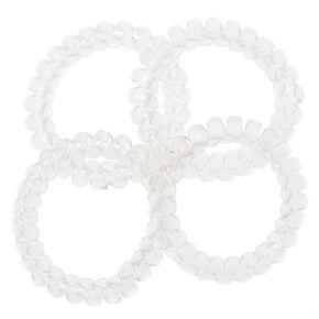 Spiral Hair Ties - Clear, 4 Pack,