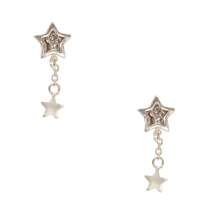 925 Sterling Silver Crystal Star Drop Earrings,
