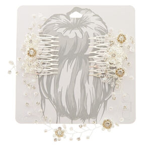 Simulated Pearl & Crystal Flower Hair Swag,