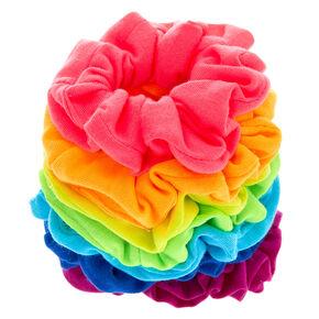 Neon Rainbow Hair Scrunchies - 7 Pack,