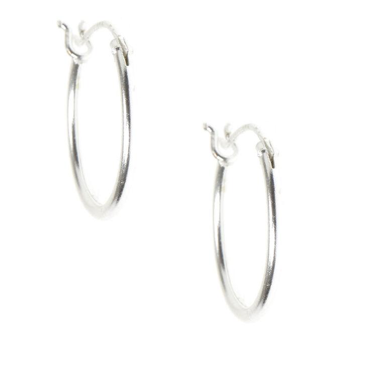 Sterling Silver 14MM Hinge Hoop Earrings - 3 Pack,
