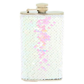 Reversible Sequin Flask - White,