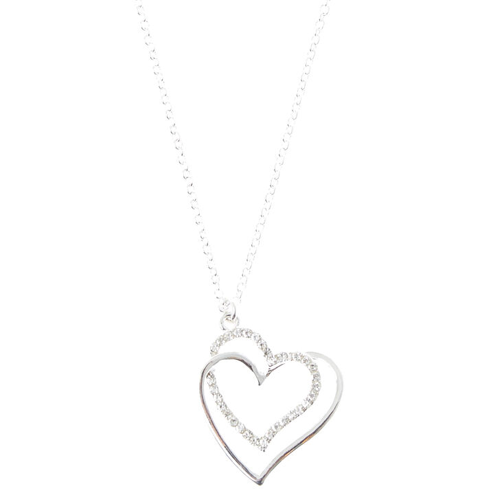Silver Interlocking Heart Pendant Necklace,