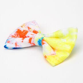 Tie Dye Neon Hair Bow Clip - Yellow/Orange,
