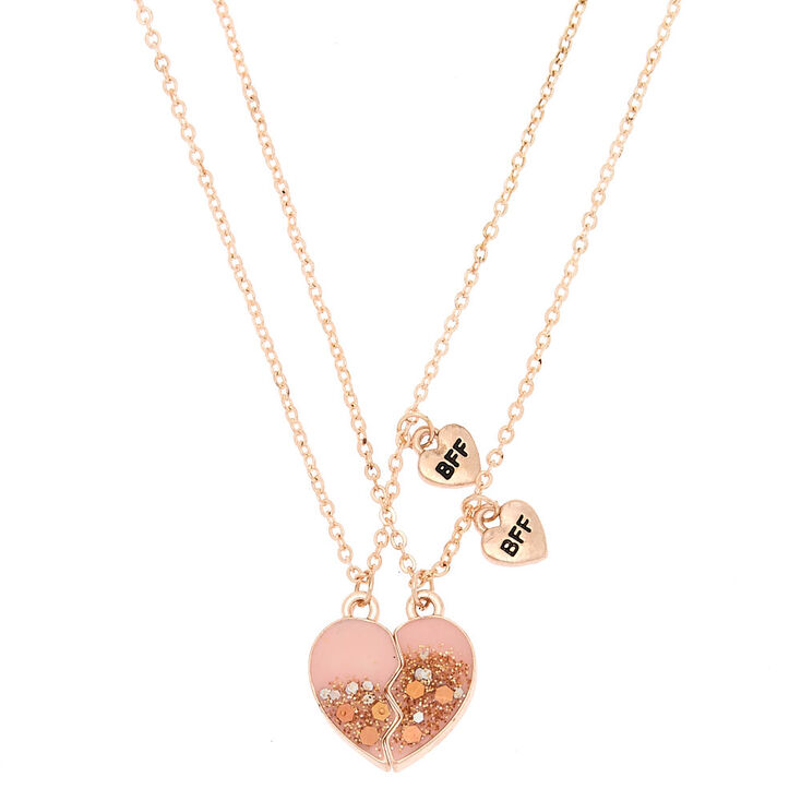 Best Friends Glitter Heart Pendant Necklaces - Pink, 2 Pack,