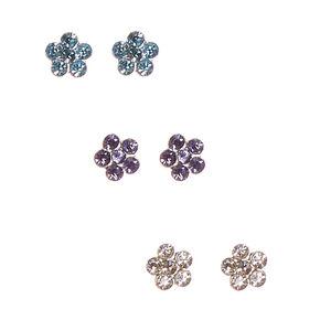 925 Sterling Silver Flower Earring Set,