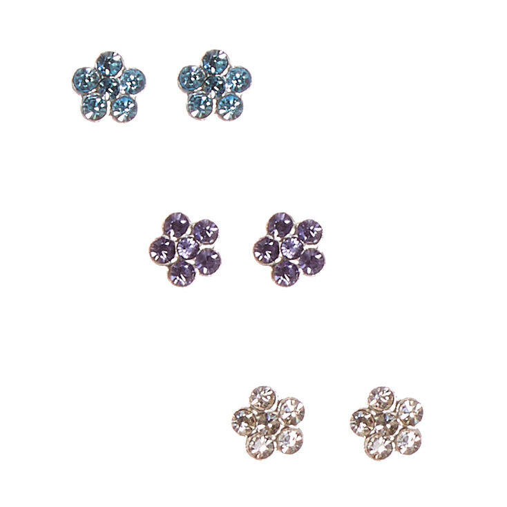 925 Sterling Silver Flower Earring Set,
