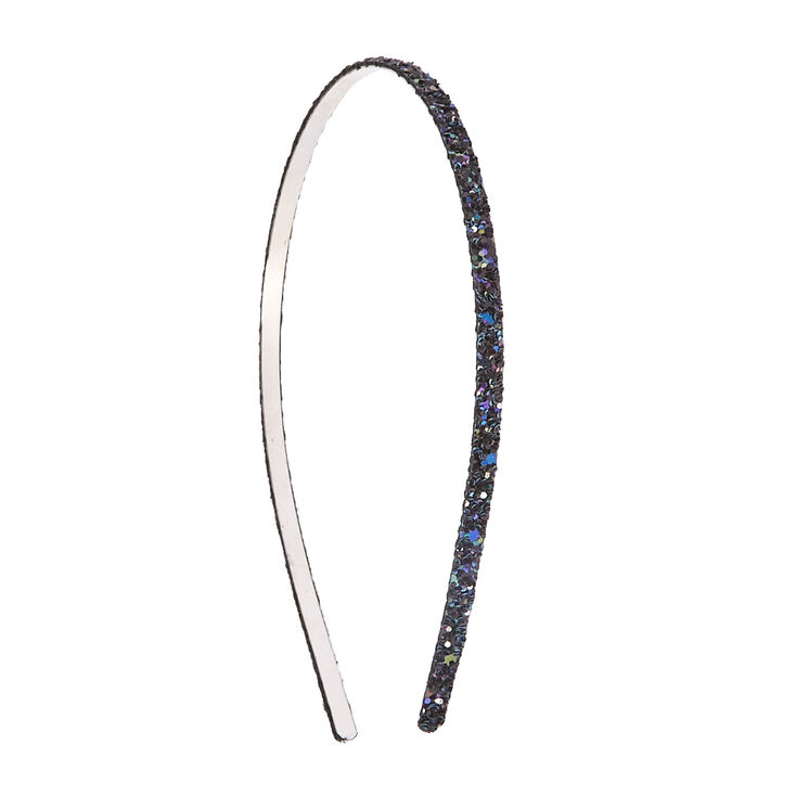 Skinny Black Glitter Headband,