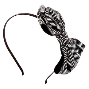 Chevron Glitter Bow Headband - Black,