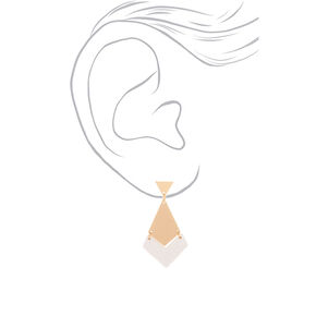 "Gold 1.5"" Geometric Drop Earrings - White,"