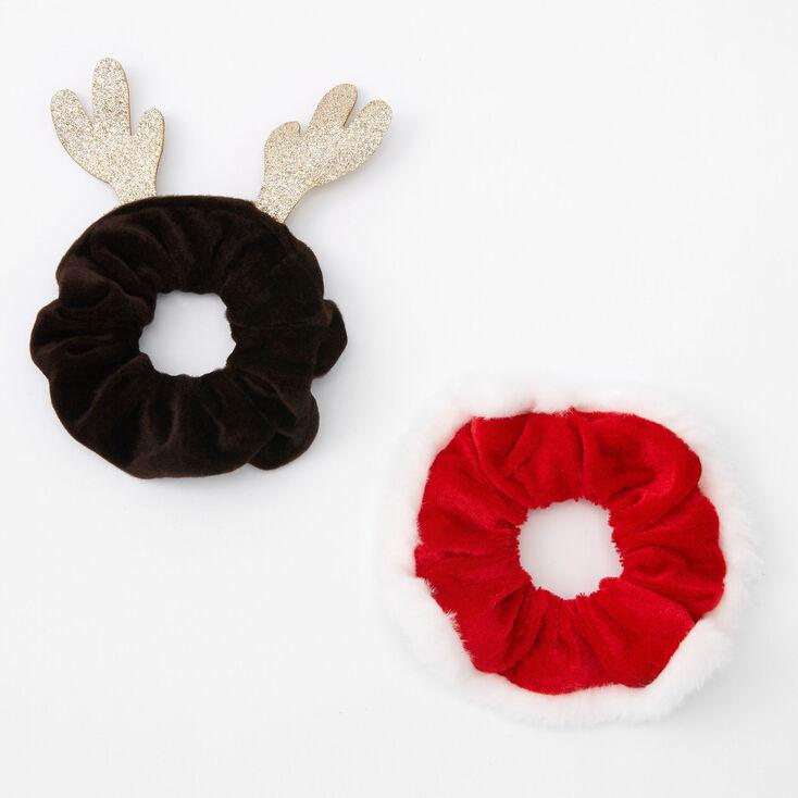 Small Santa & Reindeer Hair Scrunchies - 2 Pack,