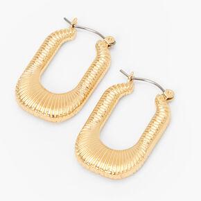 Gold 30MM Textured Oval Hoop Earrings,