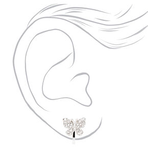Silver Mixed Embellished Butterfly Clip On Stud Earrings - 3 Pack,