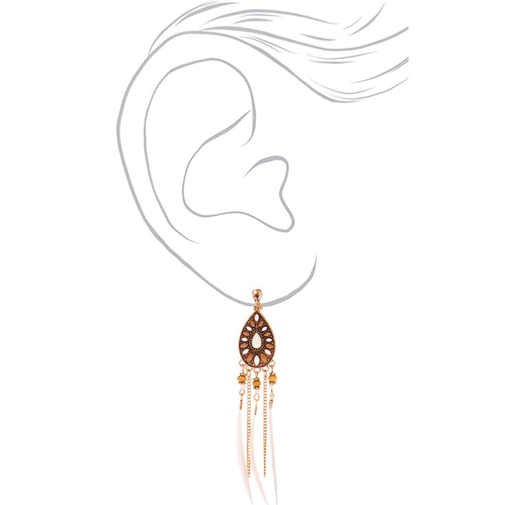"""Gold 4"""" Boho Feather Clip On Drop Earrings - Ivory,"""