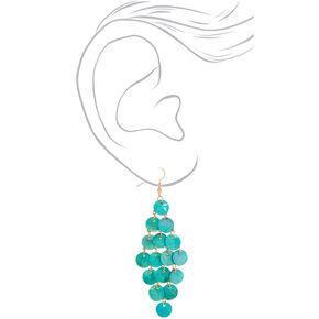 """Gold 3"""" Shell Chandelier Drop Earrings - Turquoise,"""