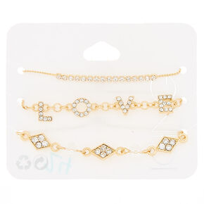 Gold Love Statement Bracelets - 3 Pack,