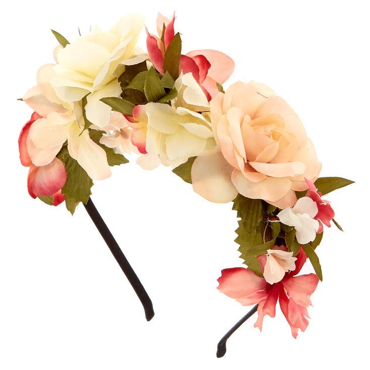 Ivory & Pink Flower Headband,