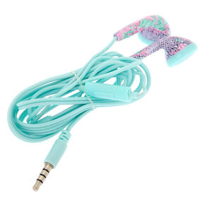 Pastel Snakeskin Earbuds with Mic - Mint,
