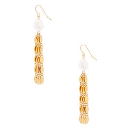 "Gold Pearl 2"" Jellyfish Drop Earrings,"