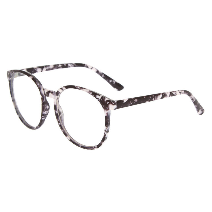 Marble Round Clear Lens Frames - Black,