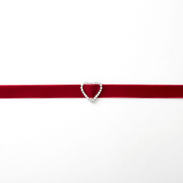 Embellished Heart Velvet Choker Necklace - Red,