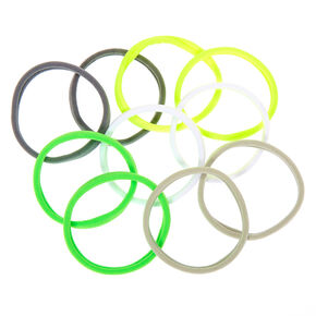 Neon Lemon Lime Rolled Hair Ties - 10 Pack,
