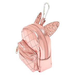 Metallic Cat Ears Mini Backpack Keychain - Pink,