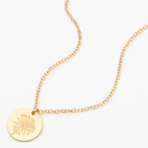 Gold Daisy Pendant Necklace,
