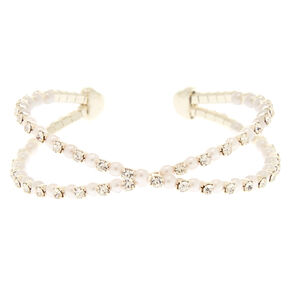 Pearl and Crystal Criss Cross Bracelet,