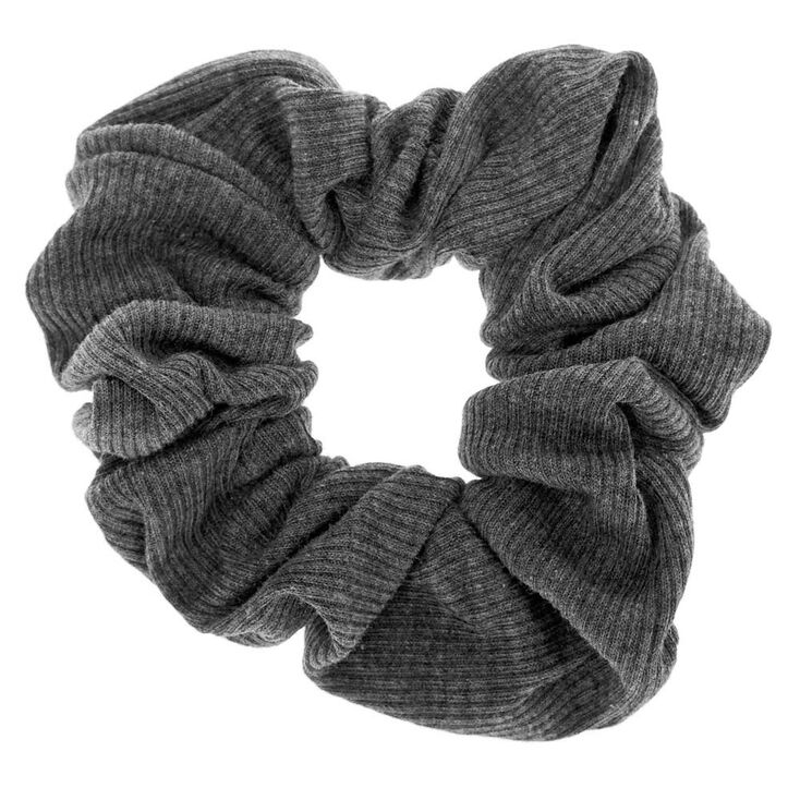 Ribbed Hair Scrunchie - Charcoal,