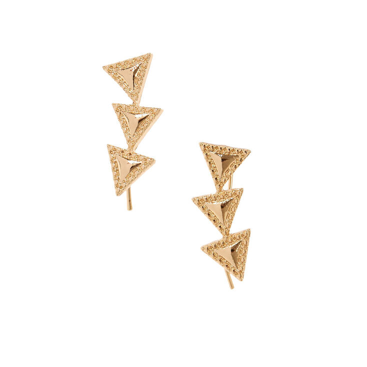 Gold Tone Triangle Trio Ear Crawlers,