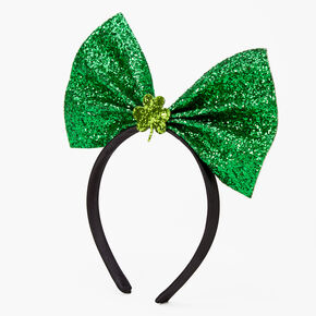 Glitter Shamrock Bow Headband - Green,