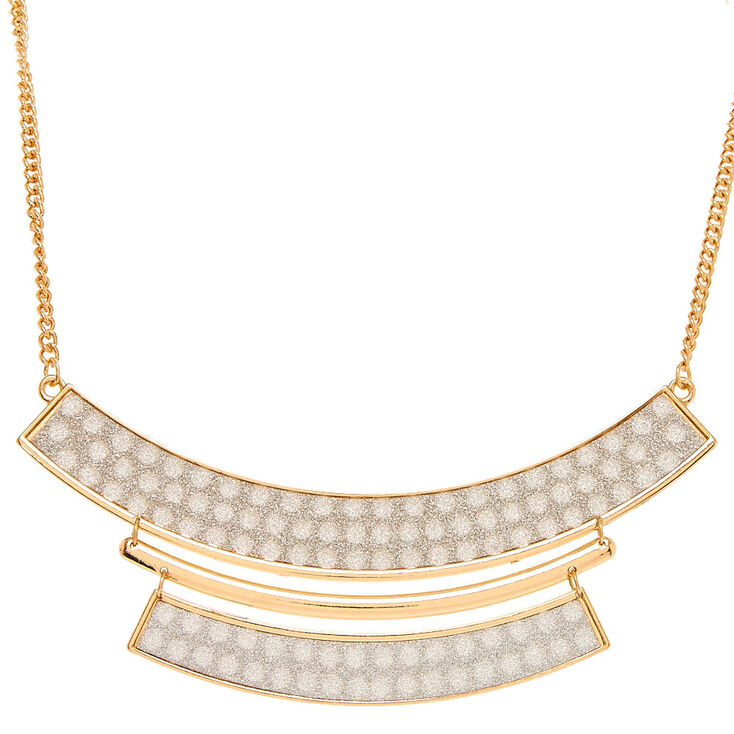 Shimmering Silver Panel Statement Necklace,