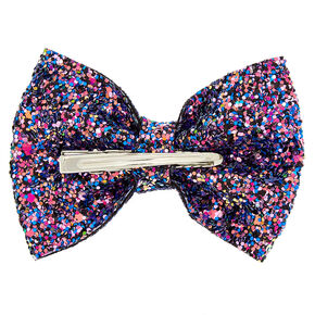 Space Glitter Hair Bow Clip - Pink,