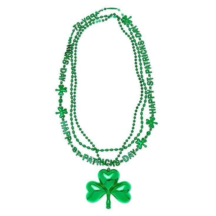 Large Shamrock Beaded Necklaces - Green, 3 Pack,