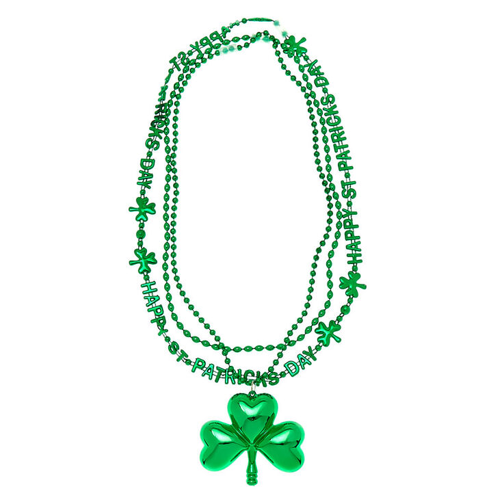 Large Shamrock Beaded Necklaces - Green, 3 Pack,