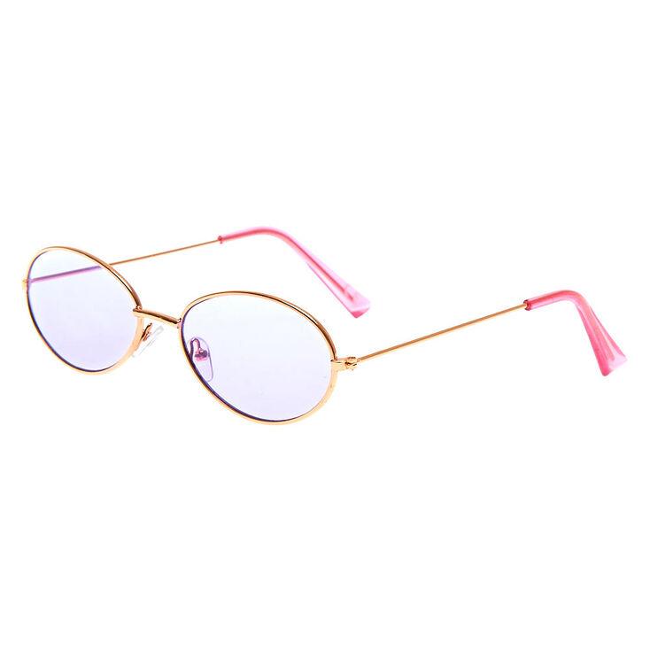 Slim Oval Sunglasses - Purple,