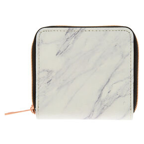 Faux Leather Marble Mini Zip Wallet - White,