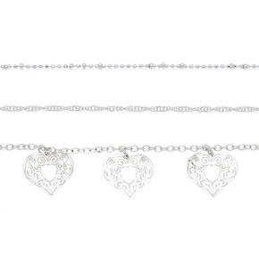 Silver Filigree Heart Choker Necklaces - 3 Pack,